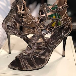 Metallic Strappy Heeled Sandals